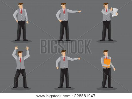 Set Of Six Vector Illustration Of Cartoon Man Wearing Necktie And Sleeveless Vest Without Jacket In
