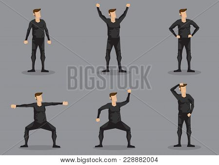 Set Of Six Vector Illustrations Of Cartoon Man Wearing Black Skin-tight Garment In Various Poses Iso