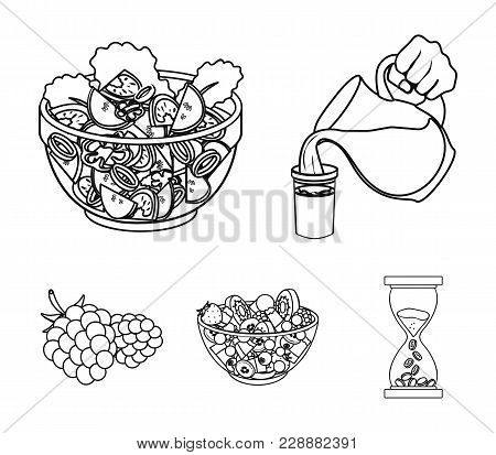 Fruit, Vegetable Salad And Other Types Of Food. Food Set Collection Icons In Outline Style Vector Sy