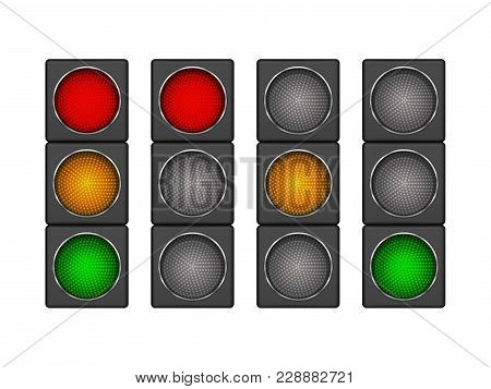Set Of 4 Modern Led Traffic Light With Different Sequence Of Switching-on Red, Yellow, Green Lights.