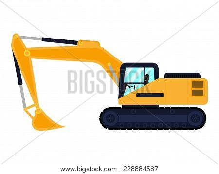 Vector Illustration Of A Cartoon Building Machine Excavator. Isolated White Background. The Machine
