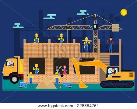Vector Illustration Cartoon Characters Builders On A Construction Site Build A House Of Bricks. Work