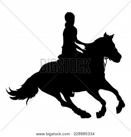 Vector Illustration, Rider Controls Running Horse, Competition Dressage. Silhouette