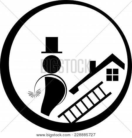 House, Roof And Chimney Sweep, Chimney Sweep And Profession Logo