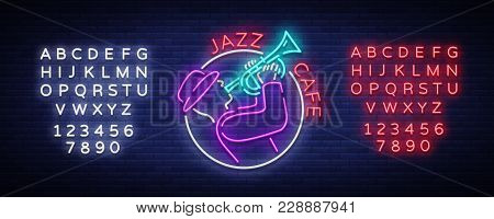 Jazz Cafe Logo In Neon Style. Neon Sign Symbol, Emblem, Light Banner, Luminous Sign. Bright Neon Adv