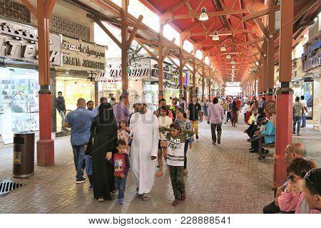 Dubai, Uae - December 10, 2017: People Visit The Gold Souk In Dubai, Uae. The Gold Market Has 300 Re
