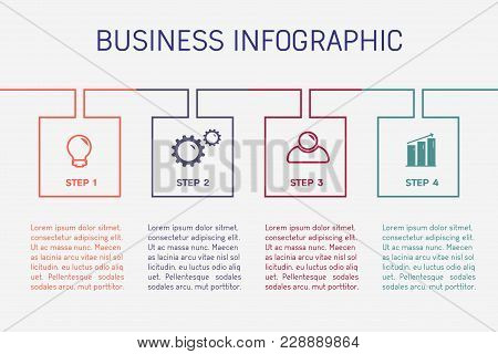 Business Infographics. Timeline With 4 Steps, Squares, Options. Vector Linear Infographic Element