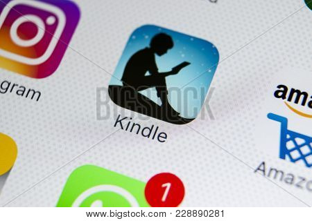 Sankt-petersburg, Russia, February 28, 2018: Amazon Kindle Application Icon On Apple Iphone X Screen