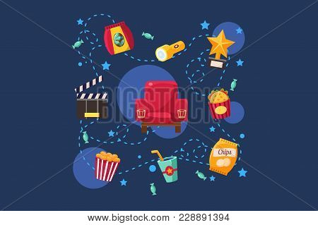 Cinema Or Movie Set, Scene, Film Industry, Cinematography Concept Vector Illustration Isolated On A