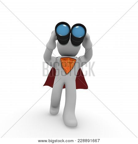 Super Hero With Binoculars On A White Background, 3d Rendering Search Concept