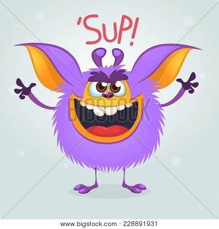 Angry Purple Cartoon Monster Gremlin Yelling With A Big Mouth. Halloween Vector Illustration