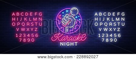 Karaoke Night Vector. Neon Sign, Luminous Logo, Symbol, Light Banner. Advertising Bright Night Karao