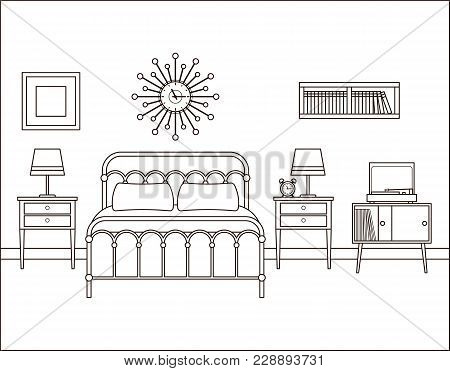 Bedroom Interior. Hotel Retro Room With Bed. Vector. Home Space In Line Art. House Flat Design. Outl