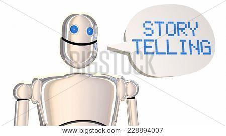 Storytelling Robot Speech Bubble Tell Stories 3d Illustration