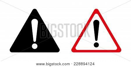 Exclamation Sign, Hazard Warning, Isolated, Caution Icon Warning Symbol, Red, White And Black