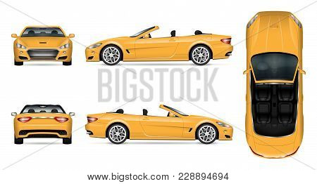 Car Vector Mock-up. Isolated Template Of Cabriolet Car On White. Vehicle Branding Mockup. Side, Fron