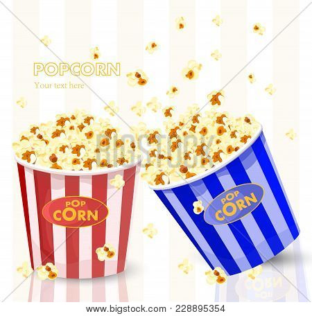 Popcorn In Red And Blue Striped Bucket Boxes. Popcorn Exploding. Vector Illustration