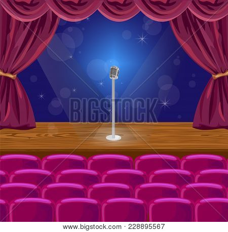 Microphone On A Stage Vector Illustration. Theater Or Concert Scene