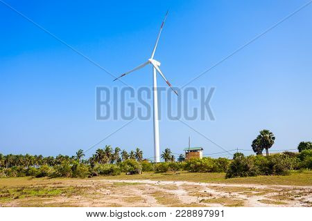 Wind Turbines In Kalpitiya, Sri Lanka. Wind Turbine Is A Device That Converts The Winds Kinetic Ener