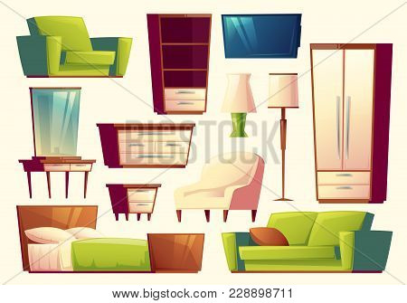 Vector Cartoon Set Of Furniture - Sofa, Bed, Closet, Armchair, Torchere, Tv Set, Wardrobe, Pier-glas
