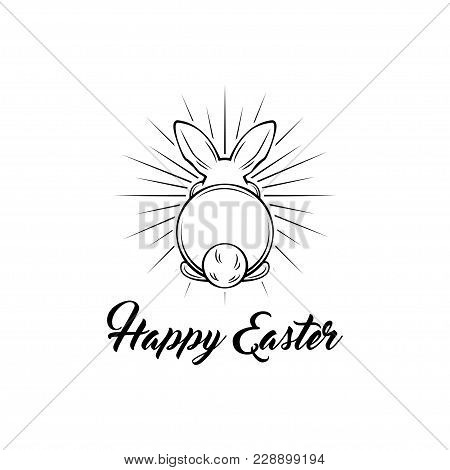 Easter Vintage Hand Drawn Illustration. Happy Easter Lettering Card Design With Bunny In Beams. Vect
