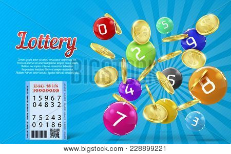 Vector Lottery Banner With Realistic Golden Coins, Colorful Balls With Numbers, Bingo Game Backgroun