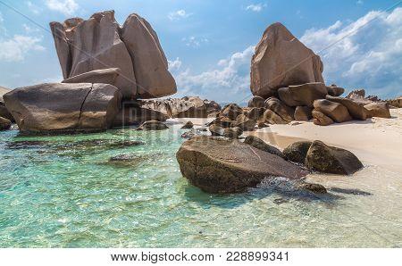 Anse Marron Beach On La Digue Seychelles.
