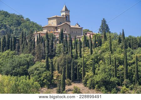 Summer Landscape Near Perugia, Umbria, Italy. Solomeo, Old Village.