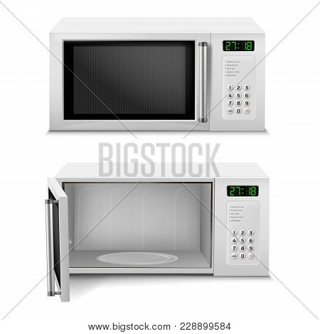 Vector 3d Realistic Microwave Oven With Digital Display, Front View, With Open And Close Door Isolat