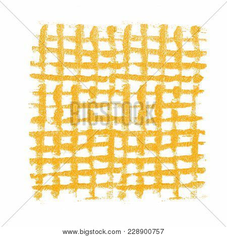 Yellow Grunge Mesh. Checkered Acrylic Background Isolated On White
