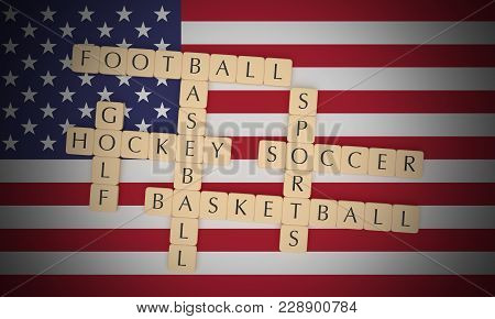 Usa Sports Concept: Letter Tiles Us Sports, Basketball, Baseball, Football, Hockey, Soccer And Golf