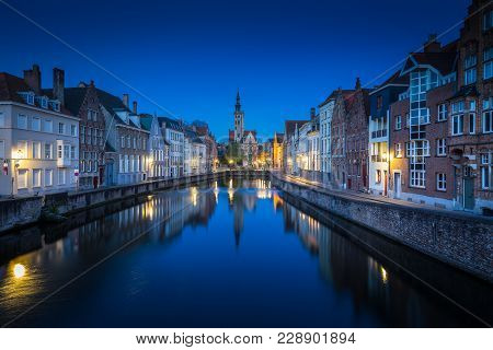 Beautiful Panoramic View Of Famous Spiegelrei Canal With Famous Poortersloge And Jan Van Eyck Square