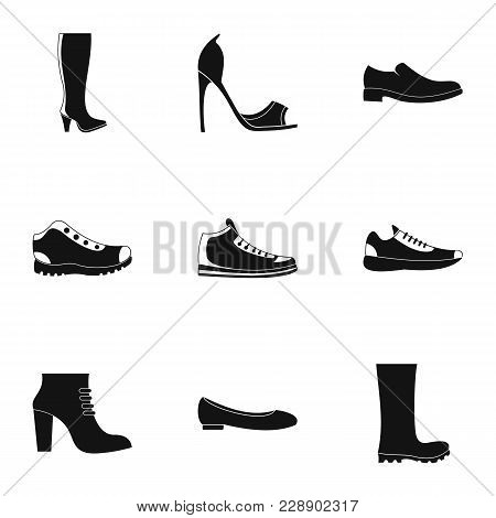 Sturdy Shoes Icons Set. Simple Set Of 9 Sturdy Shoes Vector Icons For Web Isolated On White Backgrou