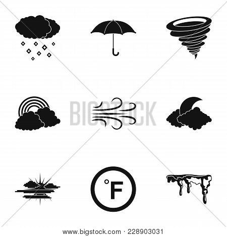 Climatic Icons Set. Simple Set Of 9 Climatic Vector Icons For Web Isolated On White Background