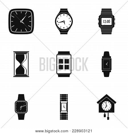 Timepiece Icons Set. Simple Set Of 9 Timepiece Vector Icons For Web Isolated On White Background