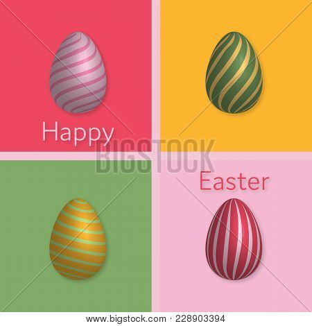 Happy Easter. Easter Eggs With Pattern In Trendy Colors With Text: Happy Easter.