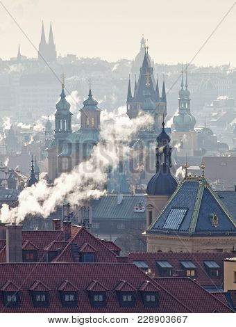 Czech Republic, Prague - Spires Of The Old Town On Cold Winter Morning