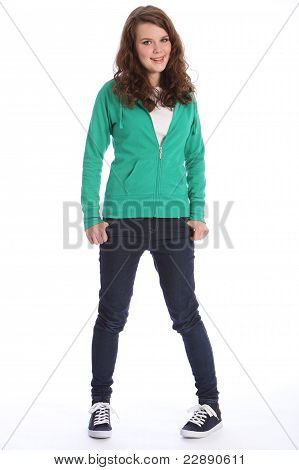 Teenager Girl In Jeans And Hoodie With Big Smile