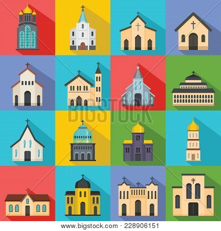 Church Building Icons Set. Flat Illustration Of 16 Church Building Vector Icons For Web
