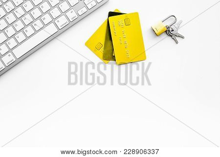 Secure Payments. Bank Cards Near Lock And Keys And Keyboard Of Computer On White Background Top View