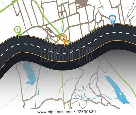 Design Of Road Infographic Templates With Road Markings And Signs