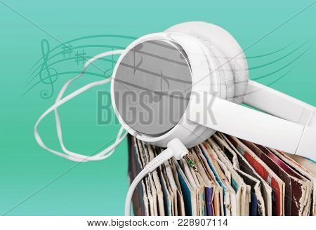 Record Headphones Vinyl Records Table Color Group