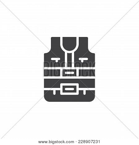Safety Vest Vector Icon. Filled Flat Sign For Mobile Concept And Web Design. Life Jacket Simple Soli