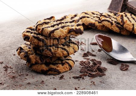 Chocolate Cookies On Stone Table. Chocolate Chip Cookies Shot.