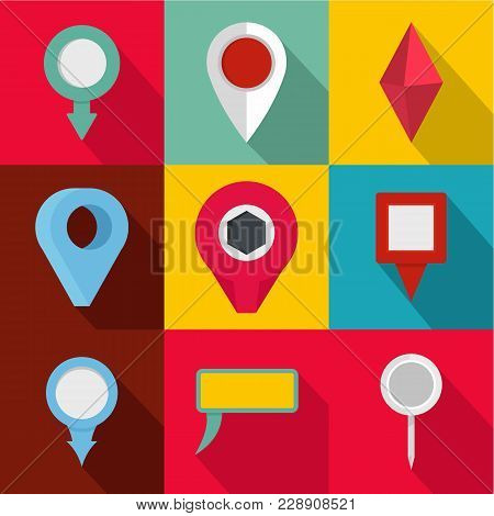 Spot Icons Set. Flat Set Of 9 Spot Vector Icons For Web Isolated On White Background