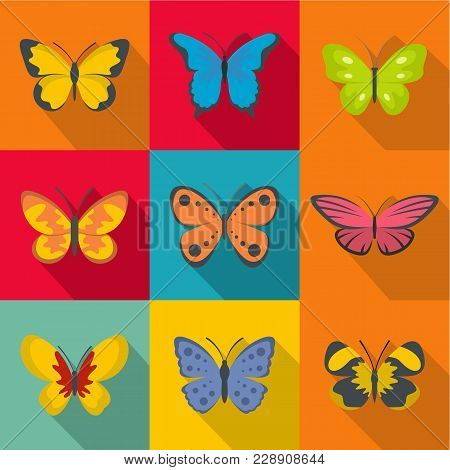 Rare Butterfly Icons Set. Flat Set Of 9 Rare Butterfly Vector Icons For Web Isolated On White Backgr