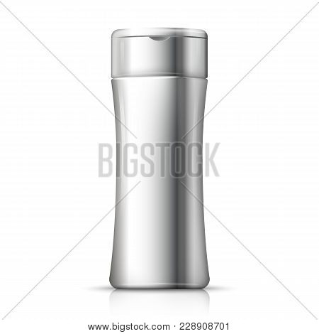 Vector 3d Realistic Aluminum Shampoo Bottle With Reflection. Mock-up For Product Package Branding.