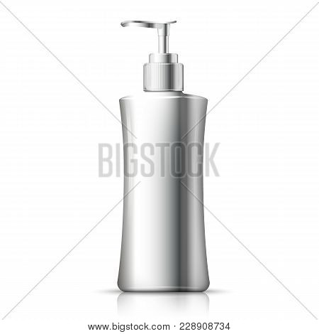 Vector 3d Realistic Aluminum Bottle With Pump Cap. Mock-up For Product Package Branding.