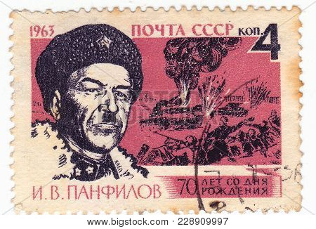 Ussr - Circa 1963: Post Stamp Printed In Ussr Shows Portrait Of I.v. Panfilov. Published For The 70T
