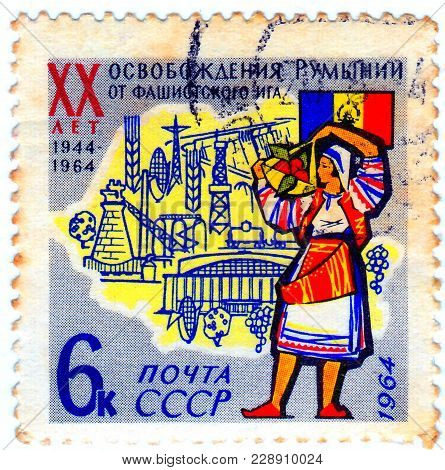 Ussr - Circa 1964: A Stamp Printed In Ussr Shows Flag, Map, Woman With Inscription